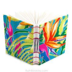 Bird of Paradise Journal — Handmade Journal Shop Handmade Journals, Handmade Books, Paradise Flowers, Purple Dahlia, Blue Leaves, Book Binding, Gold Ink, Book Journal, Silk Painting