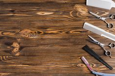 Different types of barber tools in a row on wooden surface Free Photo Mickey Mouse Art, Love Hair, Haircuts For Men, Butcher Block Cutting Board, Hairdresser, The Row, Food To Make, Tools, Business Fashion