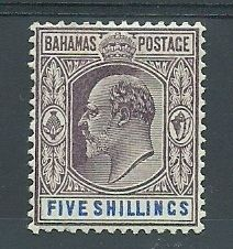 BAHAMAS SG69 1902-10 EVII 5s DULL PURPLE  BLUE #stamp #philately Crown Colony, Vintage Stamps, West Indies, Commonwealth, Stamp Collecting, Central America, Great Britain, Postcards, Islands