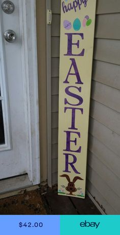 me ~ Large Rustic Wood Vertical Porch Sign Happy Easter 48 Primitive Easter Bunny Christmas Signs Wood, Holiday Signs, Easter Projects, Easter Crafts, Easter Decor, Wood Crafts, Diy Crafts, Diy Wood, Rustic Wood