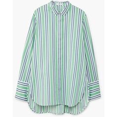 MANGO Stripe-patterned shirt (3.425 RUB) ❤ liked on Polyvore featuring tops, long sleeve cotton shirts, long sleeve collared shirt, long sleeve stripe shirt, long sleeve tops and green long sleeve shirt