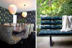 """While I like the dining room, this is pinned for the gorgeous upholstered peacock-feather-fabric bench. -- This is by """"Reath Design 