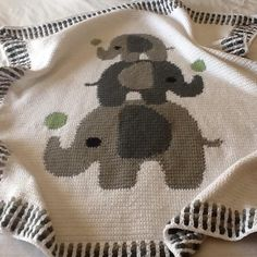 """This blanket was made by one of Pattern World's customers - Natalie Siedbald Firmani using our pattern. She allowed me to share her work on LoveCrochet website :)   Natalie's comment: """"Love my elephant blanket made for my niece's first baby. Enjoyed the challenge do much, my first attempt at this type of crochet. Enjoyed it more than fairaisle knitting."""""""