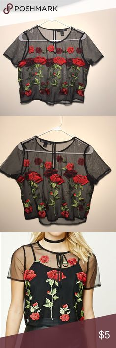 Rose Bud Mesh top black Forever 21 floral mesh black top can also fit smaller size for a more loose fit Forever 21 Tops Blouses