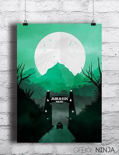 "Jurassic Park Inspired Minimalist Poster - Jurassic World Inspired A3(11x17"") Minimalist Print - Jurassic Park Art"
