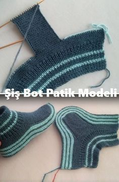 Şiş Bot Patik Modeli - The best fashion types in the world fashionlife Knitting Socks, Baby Knitting, Crochet Baby, Knit Crochet, Knitted Slippers, Knitted Hats, Two Needle Socks, Crochet Hooded Scarf, Knitting Patterns