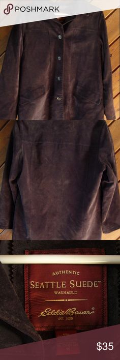 Eddie Bauer BROWN GENUINE Seattle Suede jacket Nice Genuine 100% suede lather, fully lined - two outer pockets - one inner breast pocket. Used in great condition. Size Medium Eddie Bauer Jackets & Coats