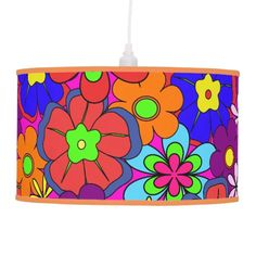 Hippy Retro Flowers Ceiling Lamp - $113.00 - Hippy Retro Flowers Ceiling Lamp - by #RGebbiePhoto @ zazzle - #flower #hippy #retro - Colorful retro style flowers, hippy style in bright colors! Large petal flowers in a jumbled assortment. 70s Hippy look, great throwback item! Groovy!