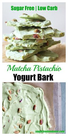 Matcha Pistachio Frozen Yogurt Bark This simple dessert is not only light, sugar free and utterly delicious, it will also give you a serious antioxidant boost: Matcha Pistachio Yogurt Bark. Low carb and Keto-friendly. Sugar Free Desserts, Low Carb Desserts, Diabetic Desserts, Low Sugar Snacks, Healthy Desserts, Pistachio Dessert, Avocado Dessert, Keto Candy, Menu