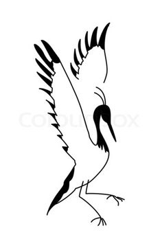 Japanese Crane Tattoo Designs | Stock image of 'silhouette crane on white background'