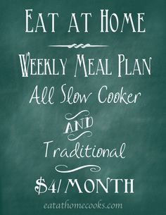 Weekly Meal Plans – All Slow Cooker and Traditional – Share your Christmas Conspiracy story at http://christmas.wbgl.org/share-your-story