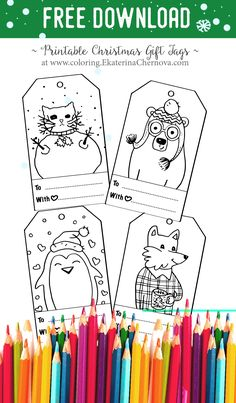 Christmas gift tags to color free printable gift tags for kids to download these free christmas gift tags printable these tags feature animals in winter outfits negle Choice Image