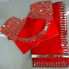 Tag your picture with to get featured on this page . Netted Blouse Designs, Stylish Blouse Design, Fancy Blouse Designs, Bridal Blouse Designs, Blouse Neck Designs, Latest Blouse Designs, Indian Blouse Designs, Mirror Work Saree Blouse, Mirror Work Blouse Design