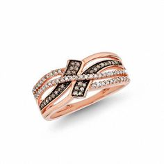 #Valentines #AdoreWe #Zales - #Zales 1/4 CT. T.w. Champagne and White Diamond Bypass Ring in 10K Rose Gold - AdoreWe.com