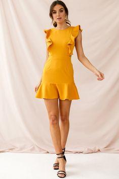 Shop the Jackie Wide Ruffle Hem Pinafore Dress Mustard   Selfie Leslie
