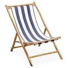 Bamboo Lounge Chair, White/Blue Stripe