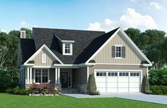 The Millicent house plan 1559 is now available for purchase.  This narrow, two-story cottage has a modest floor plan and a charming exterior. The roofline is accented with a shed dormer and the gables feature board-and-batten. Two equally sized master suites are on the first floor while a third bedroom and bathroom are upstairs with a bonus room. #wedesigndreams #dongardnerarchitects #houseplans #homeplans #floorplans #cottage #smallhouse #twostory Craftsman Style House Plans, Cottage House Plans, Cottage Homes, Oliver House, Island Cooktop, Shed Dormer, Rustic Exterior, Best House Plans, Great Rooms