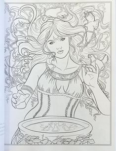 Goddess and Mythology Coloring Book (Fantasy Coloring by Selina) (Volume Blank Coloring Pages, Detailed Coloring Pages, Fairy Coloring Pages, Adult Coloring Book Pages, Printable Adult Coloring Pages, Animal Coloring Pages, Coloring Books, Coloring Stuff, Colorful Drawings