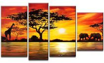 Beauty of Africa Landscape Canvas Wall Art Oil Painting Great Paintings, Original Paintings, Canvas Paintings, Painting Frames, Afrique Art, African Paintings, Art Deco Home, Oil Painting Abstract, Art Oil
