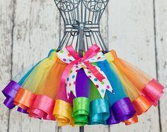 Girl's Second Birthday Rainbow Ribbon Trim Sewn Tutu Skirt Dress with Coordinating Hair Clip size 2t-3t