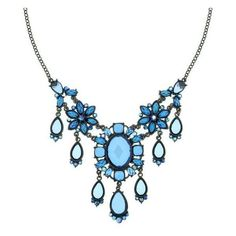 Aurora Borealis Capri Blue Statement Necklace ($114) ❤ liked on Polyvore featuring jewelry, necklaces, accessories, jewels, blue, chain bib necklace, flower bib necklace, chain necklace, blue bib necklace and pendant necklace