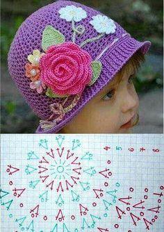 Éva Andrásfi's media content and analytics Crochet Flower Hat, Crochet Summer Hats, Crochet Beanie Pattern, Crochet Cap, Crochet Flower Patterns, Crochet Shoes, Crochet Baby Hats, Crochet Designs, Baby Knitting