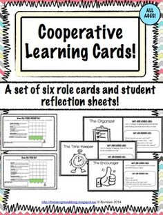 Cooperative Learning Cards and Reflection Sheets for Group Work! A serious life safer and great way to teach kids to communicate!
