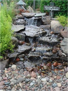 water garden ideas is good fountain design outdoor pond waterfall with for your house wat Small Water Gardens, Indoor Water Garden, Backyard Water Feature, Outdoor Ponds, Ponds Backyard, Backyard Ideas, Backyard Waterfalls, Koi Ponds, Outdoor Fountains
