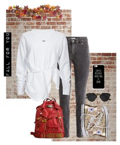 .FALL for you. by vvasiliana on Polyvore featuring polyvore fashion style H&M Converse Moschino Christian Dior Nearly Natural clothing