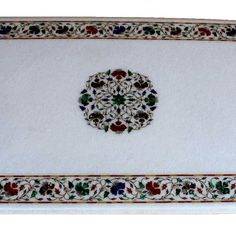 Surrealz genuine Marble pietra dura table - inlaid with semi precious stones - lapis lazuli, jasper, malachite, mother of pearl