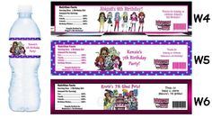 monster high free printables | Monster High ~ Printed Water Bottle Labels ~ Birthday Party Favors ...