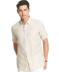 Izod Big and Tall Linen Blend Windowpane Plaid Short Sleeve Shirt