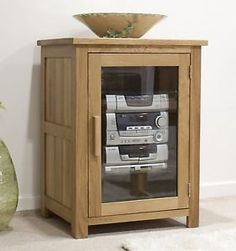 Eton Solid Oak Living Room Furniture Hi Fi Storage Cabinet Cupboard Unit