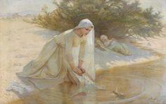 PAUPION Edouard Jérôme (1854 - 1912), Mary caring for the baby Jesus