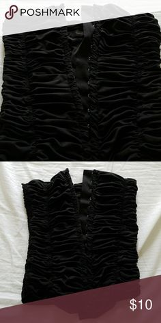 F21 sexy black corset tube top Black tube top would also work into a Halloween costume Forever 21 Tops Tank Tops