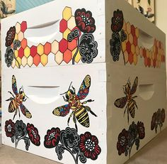 Stained Glass Honeycomb Beehive Box for Honey Bees, Custom Painted Beekeeping Bee Equipment Bee Equipment, Beekeeping Equipment, Bee Supplies, Raising Bees, Bee Boxes, Bee Farm, 10 Frame, Bees Knees, Bee Keeping