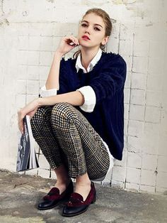 Navy Jumper With Whit Blouse And Slim Plaid Pants Three-piece Suit - Fashion Clothing,