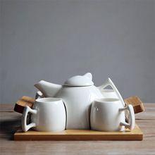 Simple de Estilo Japonés Blanco Juegos De Té de Cerámica Seis Piezas Conjunto 1 Regalos de Porcelana tetera de 4 Tazas…