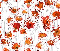 Poppysplashes fabric in Basic Cotton Ultra by juliesfabrics on Spoonflower - custom fabric