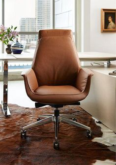NeoCon 2015 Leather that fits like a glove: Upholstery and stitching exemplify comfort and refined design in Downtown, the newest addition to the Haworth Collection offering of exceptional office and visitor seating. Designed by Jean-Marie Massaud. Retro Office Chair, Executive Office Chairs, Home Office Chairs, Comfortable Living Room Chairs, Comfortable Office Chair, Brown Accent Chair, Brown Leather Office Chair, Accent Chairs, Wooden Dining Room Chairs