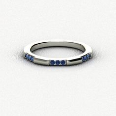 0.13ct Real & Certified Blue Sapphire 14k White Gold Engagement & Wedding Ring #Diamondere #WithGemstones