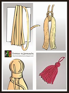 Tia Bones, hilando ideas: Chal triangular al Crochet (con patron)How to make.a great knot for these.Let & ciaEasy way to pass the yard to hang the tassel. Diy Tassel, Tassel Jewelry, Diy Jewelry, Jewelry Making, Jewellery, Pom Pom Crafts, Yarn Crafts, Diy And Crafts, Simple Crafts