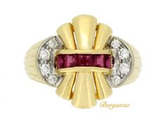 Ruby and diamond cocktail ring, circa 1940s. Ruby and diamond cocktail ring. Horizontally set to centre with a channel set row of five square calibre cut natural unenhanced rubies in open back rubover settings  flanked by two vertically set curving rows of round old cut diamonds in open back grain settings, to a bombe form with an openwork yellow gold stepped outward spray and heavy curving bombe trumpeted shoulders with fluted detail