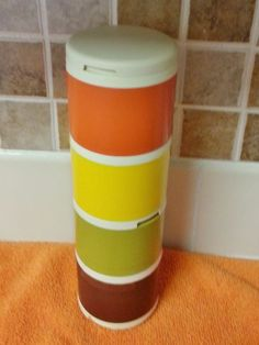 Set of 4 Vintage Tupperware Stackable Spice Containers #1308 Harvest Colors