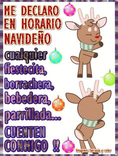 imagenes, fantasia y color: ME DECLARO EN HORARIO NAVIDEÑO Merry Christmas And Happy New Year, Christmas Time, Good Night All, Funny Emoticons, Holidays And Events, Happy Birthday, Humor, Gifs, Memes
