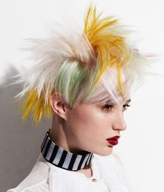 Medium Blonde Straight Coloured Multi-tonal Spikey Punk White Yellow Womens Haircut  hairstyles for women
