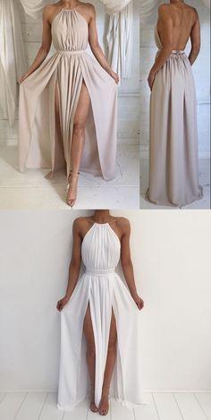 pink long prom dress, 2018 prom dress, maxi long prom dress with slit, formal evening dress