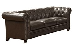 online shopping for Roy Button-Tufted Sofa Rolled Back Arms Brown from top store. See new offer for Roy Button-Tufted Sofa Rolled Back Arms Brown Tufted Sofa, Futon Sofa, Chesterfield Sofas, Couches, Brown Furniture, Living Room Furniture, Living Room Sets, Living Room Designs, Leather Sectional