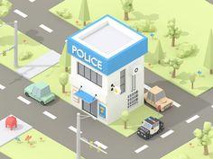 Isometric Police Building on Behance