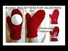 Crochet RED MITTENS FOR VALENTINE'S DAY, ADULT SMALL - YouTube